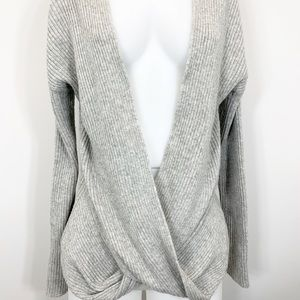 ZELLA twist front yoga sweater gray size medium